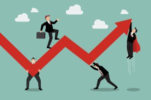 Business Teamwork Maintaining Profits. Business Concept Vector Illustration